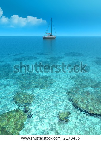 Yacht in the middle of the beautiful sea. Digitally created and rendered. - stock photo