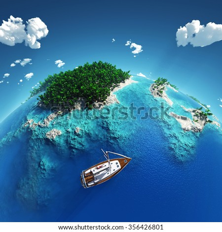 yacht in the tropical paradise