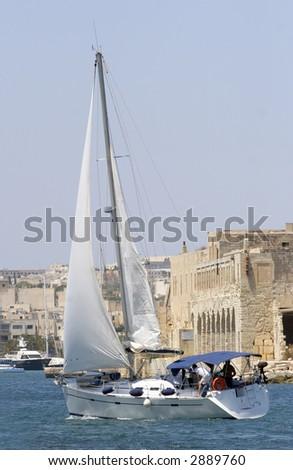 yacht in valetta, Malta - stock photo