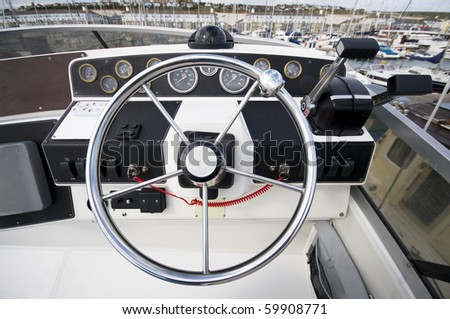Yacht Instrument Panel in Cockpit.