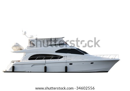 Yacht isolated on white background ; boat - stock photo