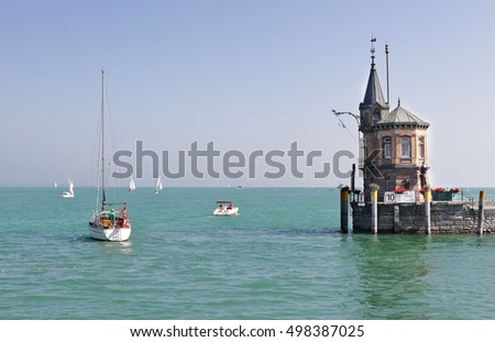 Yacht leaving Konstanz harbour on Lake Constance in Germany
