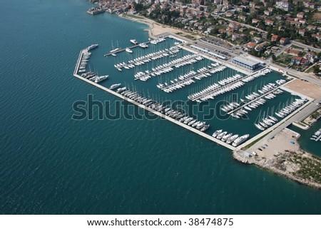 Yacht marina aerial view - stock photo