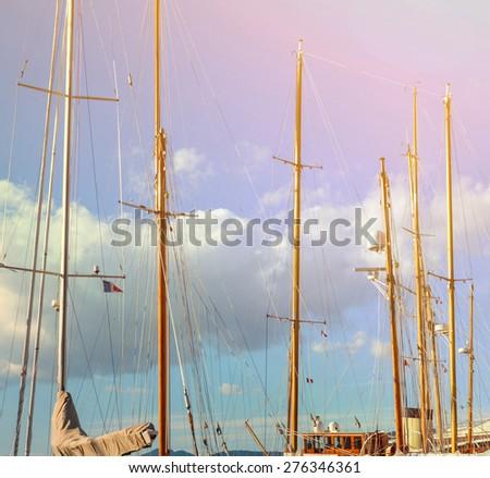 Yacht mast against sky - stock photo