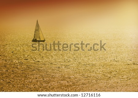 Yacht (number on sail is fake) - stock photo