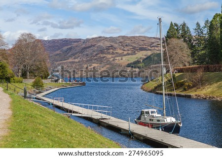 Yacht on a mooring. Lochness in Highlands, Scotland, United Kingdom - stock photo