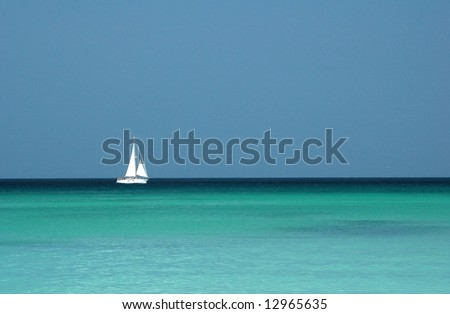 yacht on a tropical sea - stock photo