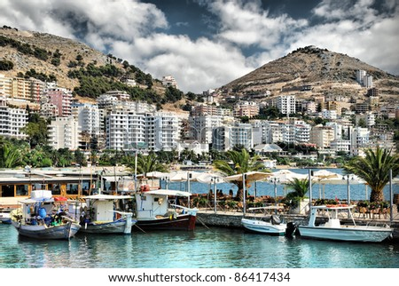 Yacht port of Saranda bay. Albania