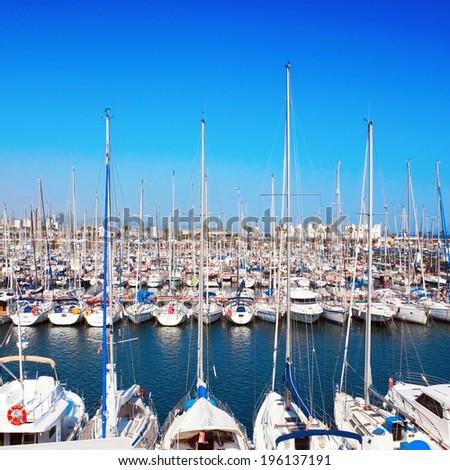 Yacht port on sunny day - stock photo