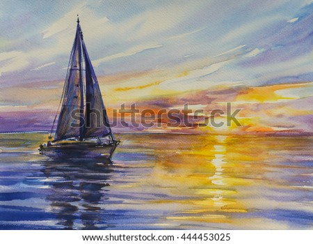 Yacht sailing against sunset.Picture created with watercolors