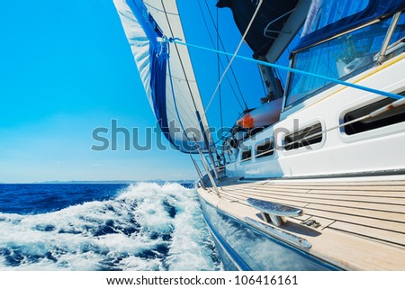 Yacht, Sailing boat in the sea - stock photo