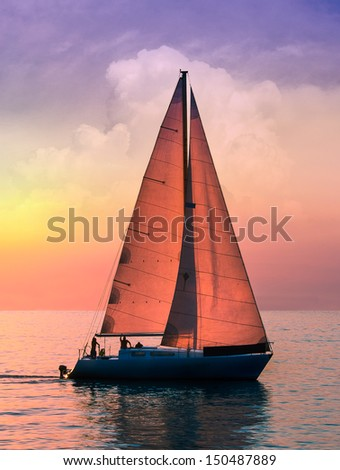 Yacht sailing in the sunrise time. Sea landscape - seaside view with a beautiful sailboat. Yachting tourism - sea voyage on the sail boat. Romantic trip on the sail vessel. - stock photo