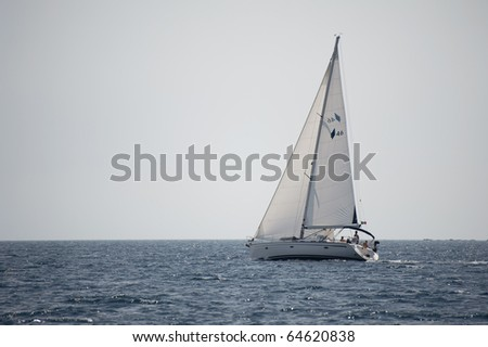 yacht sailing on the sea - stock photo