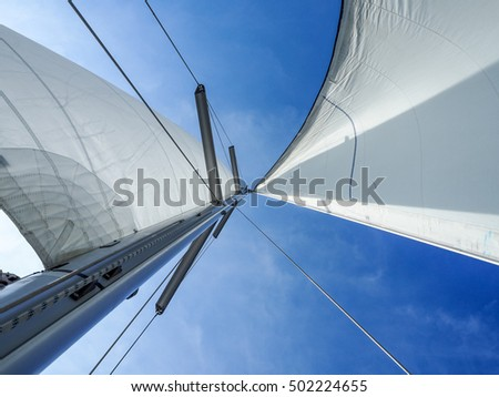 Yacht sails in the wind