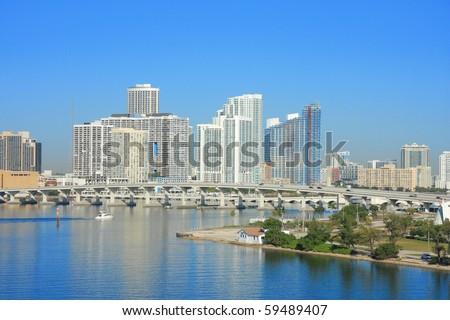 yacht ship on the sea in Miami ,Florida , USA. - stock photo