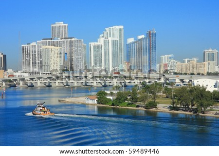 yacht ship on the sea in Miami ,Florida , USA. - stock photo
