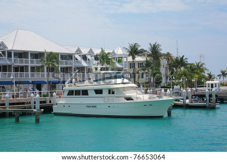 Yacht ship park in pier of key west , Florida. - stock photo