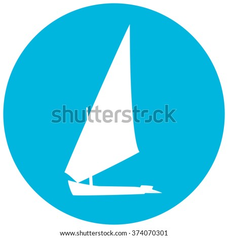 Yacht silhouette  illustration on blue circle background. Boat logotype.