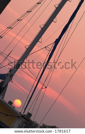 Yacht with sunset, angled