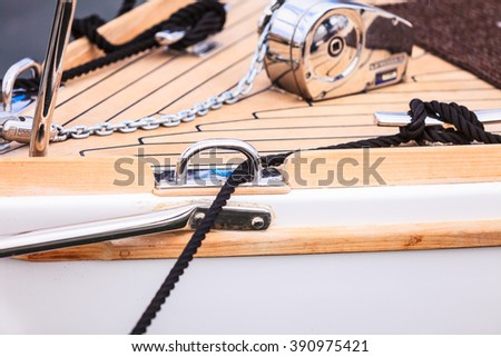 Yachting. Sailboat view of different parts of yacht, block with rope. Detail of sailing boat - stock photo
