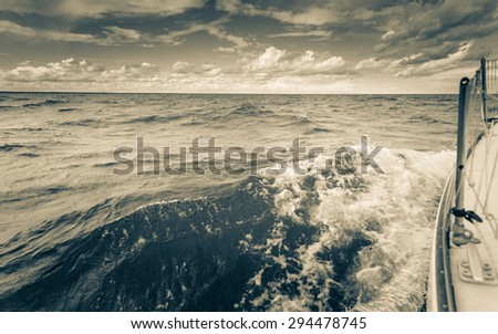 Yachting yacht sailboat sailing in baltic sea summer vacation. Tourism luxury lifestyle. - stock photo