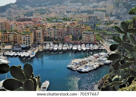 Yachts and apartments in port Fontvieille in Monte Carlo - stock photo