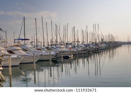 Yachts and boats at the marina. South of France. - stock photo