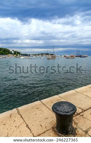 Yachts and boats in adriatic sea near Rovinj - stock photo