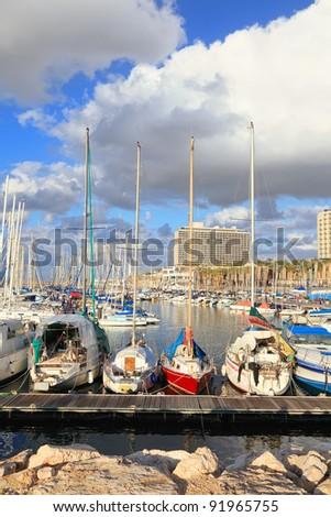 Yachts and boats in marina of Tel-Aviv (Israel) - stock photo