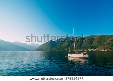Yachts and boats in Montenegro - stock photo