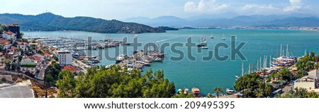 Yachts and gulets in the harbor  of Marmaris,  Turkey - stock photo