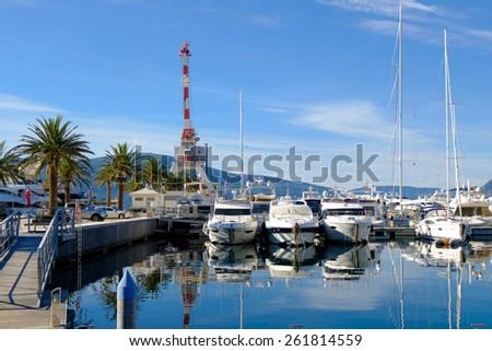 Yachts and palms in the porto Montenegro Tivat - stock photo