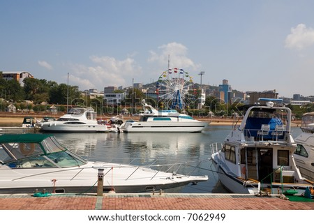 Yachts at a mooring in harbour.Vladivostok port.Russia.