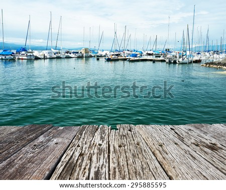Yachts at Ouchy port marina, Lake Geneva, Lausanne, Switzerland - stock photo