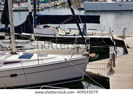 Yachts berthed in yacht harbor. California, USA. - stock photo