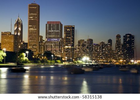 Yachts floating on Lake Michigan - Chicago, Il. - stock photo