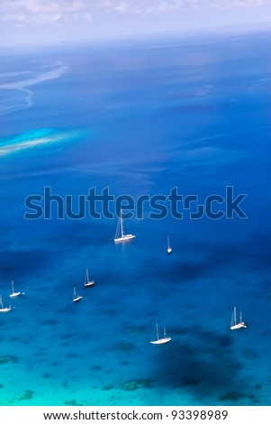 Yachts in a bay. Aerial view. - stock photo