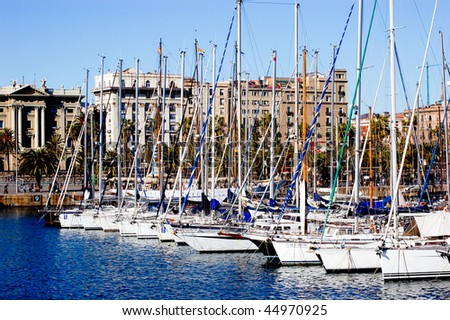 Yachts in a row in Barcelona - stock photo