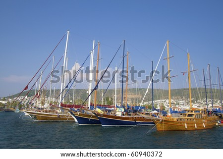 Yachts in Bodrum Harbor - stock photo