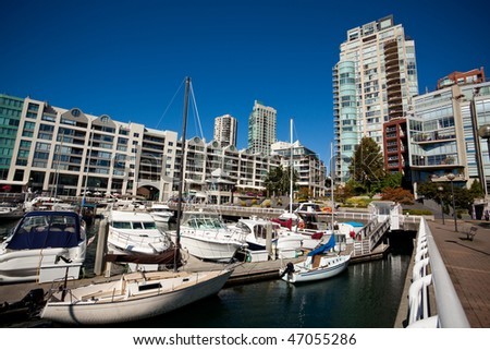 Yachts in English Bay, Vancouver BC, Canada - stock photo
