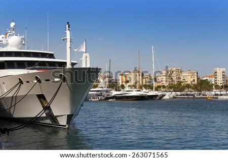 yachts in harbor of Barcelona - stock photo