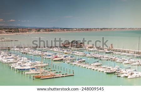 Yachts in Marina Bay in Rimini, Italy - stock photo