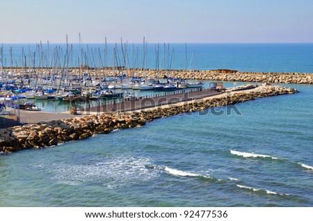 yachts in marina in Tel Aviv, Israel - stock photo