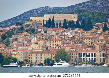 Yachts in Sibenik UNESCO world heritage town waterfront, Dalmatia, Croatia - stock photo