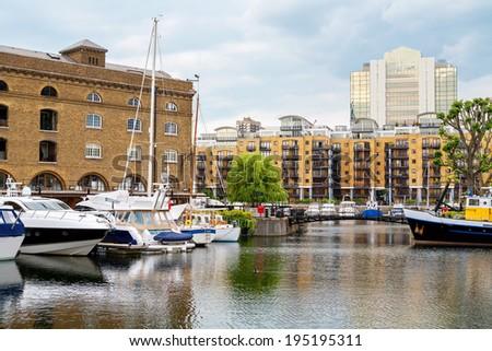Yachts in St Katharine's Dock. London. England - stock photo