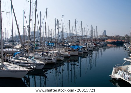Yachts in the Barcelona port - stock photo