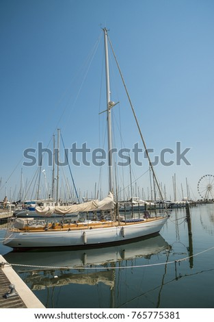 Yachts in the port waiting. Rimini, Italy.