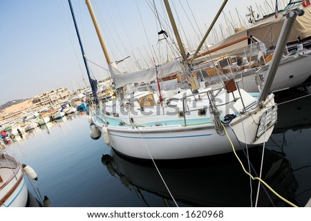 Yachts in the the harbor (Port Le Vieux) in Cannes, France. - stock photo