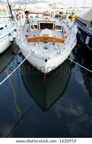 Yachts in the the harbor (Port Le Vieux) in Cannes, France - Copy Space - stock photo