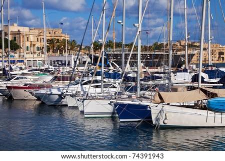 Yachts  lying at Marsamxett harbour (Valletta, Malta) - stock photo